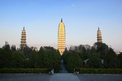 Three buddhist pagodas in Dali old city, Yunnan province, China Royalty Free Stock Photo