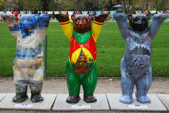 Three Buddy Bears in Paris Royalty Free Stock Photos