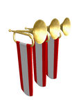 Three bugles with banners Royalty Free Stock Images