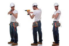 Three builder photos. Three shots of a builder in different poses, wearing a tool belt and safety hat, isolated on a white background Stock Image