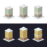 Three buildings at night and day Stock Photos