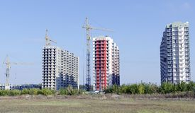 General view of the construction site in the open field. Royalty Free Stock Image