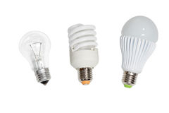 Three bulbs on white Stock Images