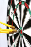 Three Bulls Eye. Three darts hitting the bull's eye Royalty Free Stock Photos