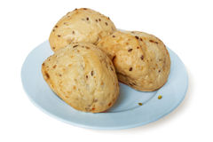 Three bun wheat on the plate Stock Photography