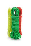 Three bundles of colorful nylon ropes Stock Image