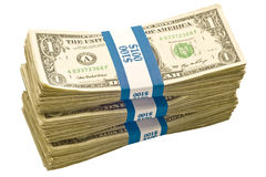 Three Bundles of One Dollar Notes Stock Photography