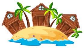Three bungalows on island Royalty Free Stock Photos