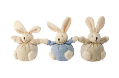 Three Bunnies. Three stuffed bunnies holding hands. Isolated on white background Stock Photos
