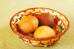 Three buns in a basket Stock Image