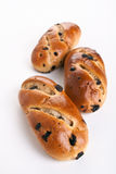 Three Buns with Raisins Stock Photo