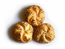 Three buns with seeds Royalty Free Stock Photography