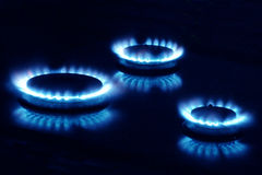 Three burners. Close-Up of a Gas Burner royalty free stock photography