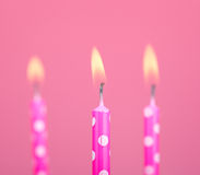 Three Burning Birthday Candles Royalty Free Stock Photography
