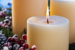Three burning candles Stock Photo