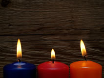 Three burning candles Stock Photography