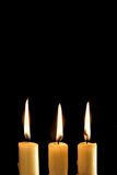 Three burning candles Royalty Free Stock Photography