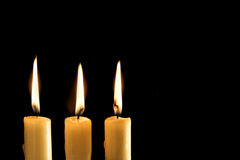 Three burning candles Royalty Free Stock Images