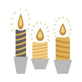 Three Burning Candles in Racks  on White Stock Photo
