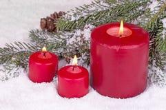Three Burning Candles Royalty Free Stock Photography