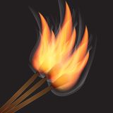 Three burning match on black background Royalty Free Stock Photography