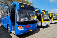 Three buses of the Ceres liner in the Philippines stock image