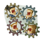 Three Business Connecting Inside Cogs Stock Photography