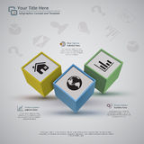 Three Business Cubes Infographic Background. Perspective view of 3d cubes with icons, on a light gray background. There is 3 placeholder for title, graphic and royalty free illustration