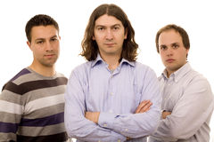 Three business friends. Three young men white isolate fashion business Stock Images