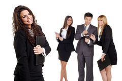 Three business girls and a business man Royalty Free Stock Photos