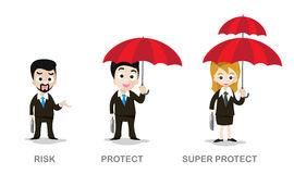 Three of business man and woman holding umbrella. Vector illustration eps10 stock illustration