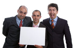 Three business men with card Royalty Free Stock Photo