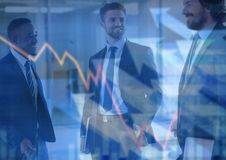 Three business men with chart and arrows graphic overlay vector illustration