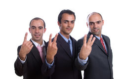 Three business men counting Stock Photo