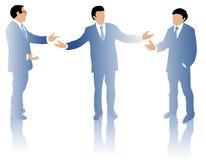 Three business men debating Stock Images