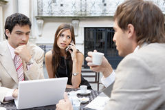 Business people meeting in cafe. Stock Image