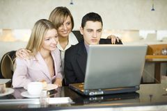 Three of Business People at the Laptop Stock Images