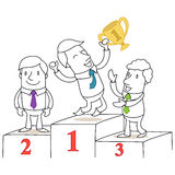 Three business people on podium. Vector illustration of monochrome cartoon characters: Three business people on podium with happy winner jumping and holding cup Royalty Free Stock Images