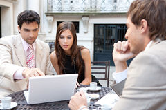 Business people meeting in cafe. royalty free stock photography