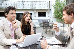 Business people meeting in cafe. Royalty Free Stock Photos
