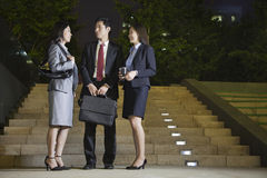 Three Business People Talking At Park Stock Photo