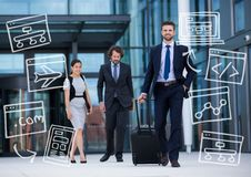 Three business people walking with white business doodles Royalty Free Stock Images