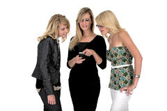 Three business woman on phone. Over white Stock Photos