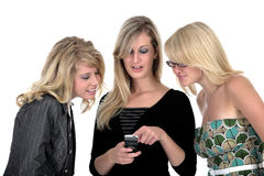 Three business woman on phone 2. Three business woman on phone over white Royalty Free Stock Photography