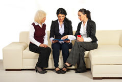 Three business women discussion on sofa Stock Photo