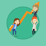 Three business women holding growth graph. Royalty Free Stock Photography