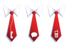 Three businessman neckties with communication symbols. Royalty Free Stock Photos
