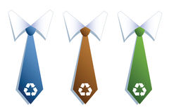 Three businessman neckties with recycle symbols. Royalty Free Stock Image