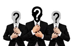 Three businessman with question mark on head, isolated on white background Royalty Free Stock Photos