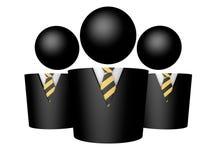 Three businessman symbol icon tie white background 3d render rendering illustration. Three businessman symbol black icon tie white background 3d render rendering Stock Images